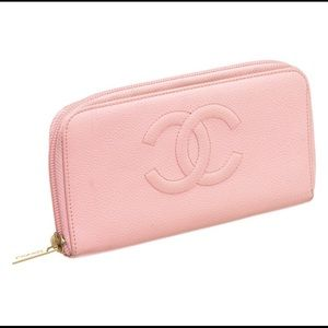 CHANEL Bags - Chanel Pink Caviar Leather Zippy Wallet